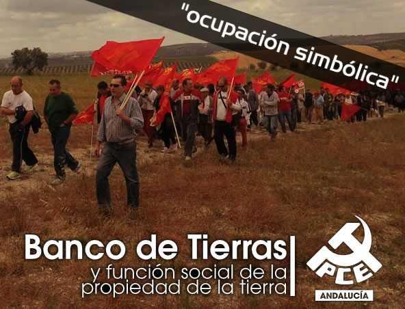"""El pasado sábado 8 de junio, y bajo la consigna """"por un banco público de tierras para Andalucía"""", cargos públicos y dirigentes del Partido Comunista de Andalucía (PCA-PCE), 'ocuparon' de…"""