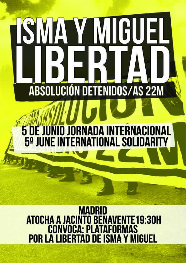 El Partido Comunista Obrero Español hace un llamamiento al pueblo para que secundenlos actos públicos que secelebrarán el próximo día 5 de Junio exigiendo la libertad de loscompañeros Miguel e…