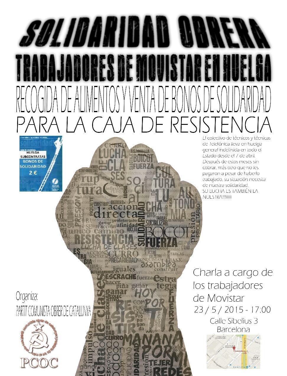 Solidaridad Obrera con los Trabajadores de Moviestar en Huelga