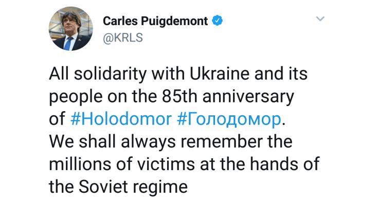 """El pasado domingo 25 de noviembre de 2018, Carles Puigdemont escribía en las redes sociales un mensaje, en lengua inglesa, donde expresaba lo siguiente: """""""