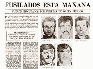 """Tal día como hoy, hace 43 años, el Estado asesinó a los comunistas Sánchez Bravo, García Sanz y José Humberto Baena y a los abertzales Jon Paredes Manot """"Txiki"""" y…"""